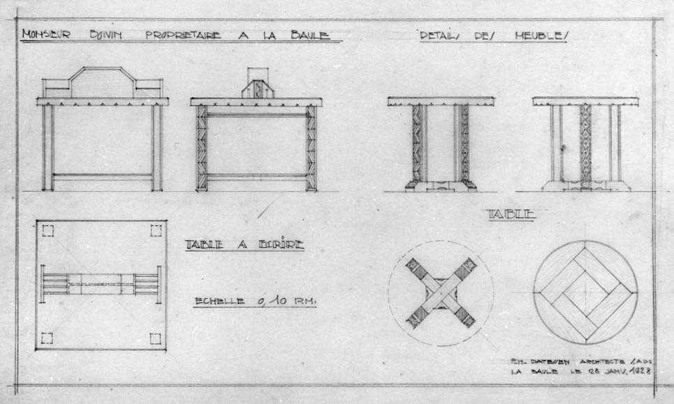 Plans de tables au 1/10e du hall du Grand Hôtel de La Baule pour M. Boivin en 1929.