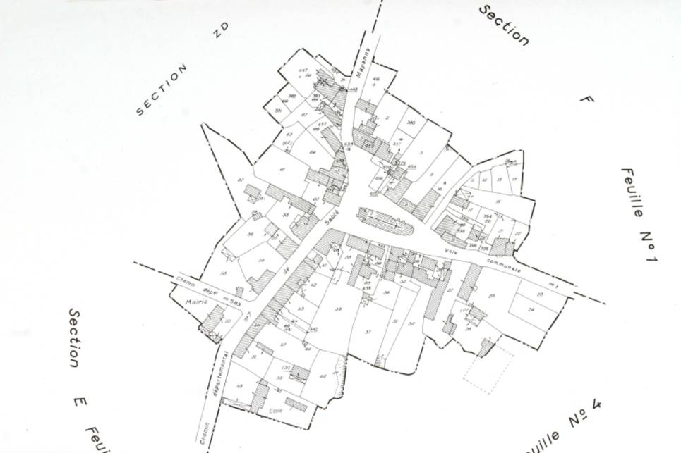 Extrait du plan cadastral de 1982, section E.