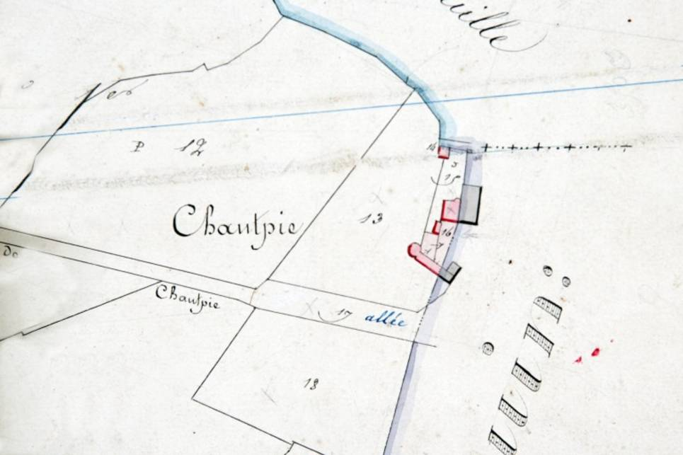 Extrait du plan cadastral de 1838, section I1.