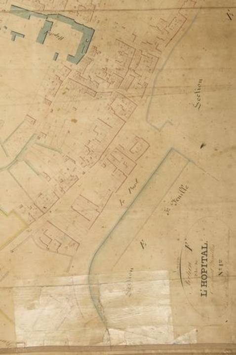 Plan du quartier du port en 1845 : détail de la section F du plan cadastral.