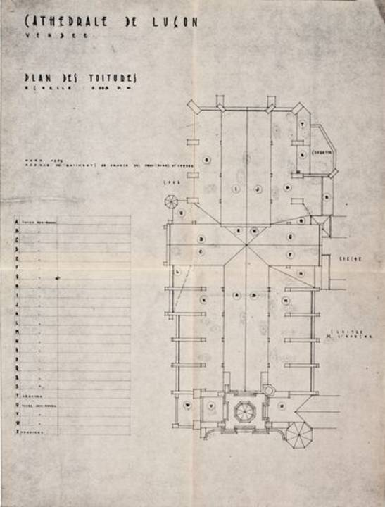 Plan des toitures par Georges Duval, architecte en chef, en septembre 1969.